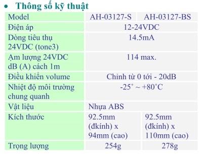 Thong so ky thuat AH-03127-S
